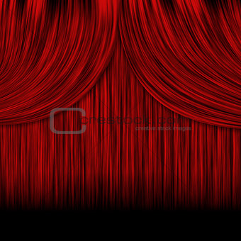 Closed red curtains