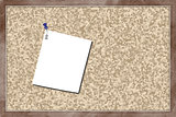 Cork board with blank paper