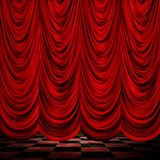 Decoretive red curtains with floor