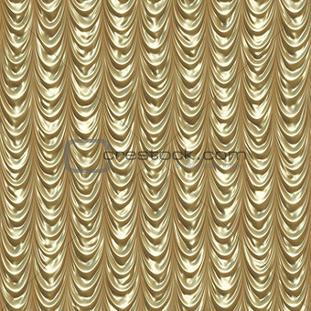 Golden draped curtains