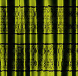 Green curtain with pattern
