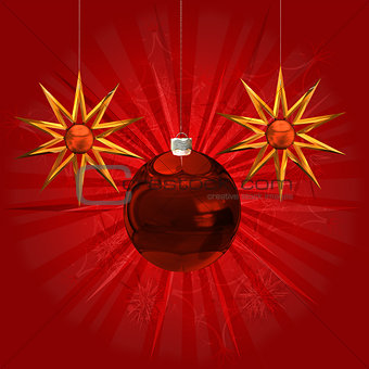 Red ball and stars ornament