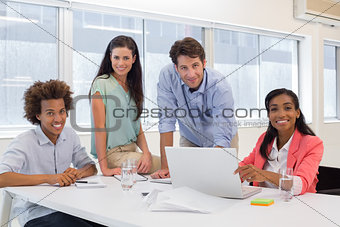 Attractive business people working together