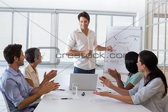 Attractive businessman giving a presentation to his coworkers