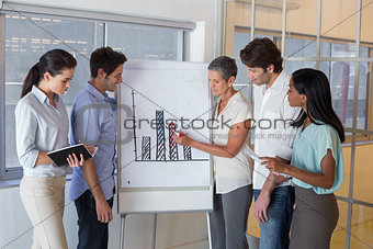 Business people working on graph for presentation
