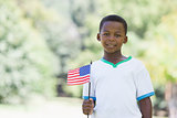 Little boy celebrating independence day in the park