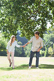Carefree couple standing in the park holding hands