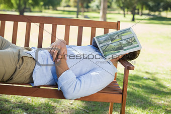 Man sleeping on park bench with newspaper over face