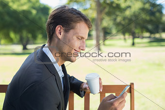 Casual businessman texting on phone on park bench