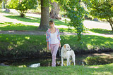 Pretty smiling blonde walking with her labrador in the park
