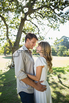 Smiling couple standing and embracing in park