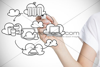 Composite image of businesswoman writing graphic