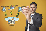 Composite image of businessman writing flowchart