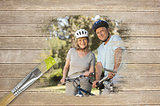 Composite image of senior couple on bikes in the park
