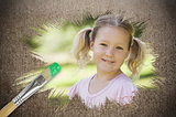 Composite image of little girl smiling in the park