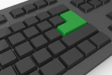 Black keyboard with green key