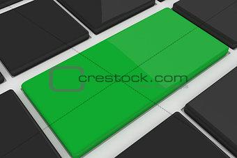 Black keyboard with green key