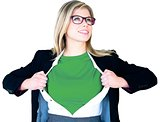 Businesswoman opening shirt in superhero style