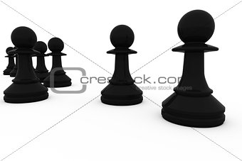 Black chess pawns in a row