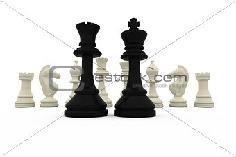 Black king and queen standing in front of white pieces