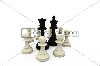 Black king and queen surrounded by white pieces