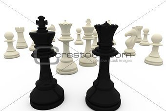 Black king and queen facing white pieces