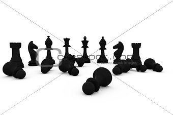 Black chess pieces fallen and standing