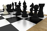 Black chess pieces on board with white pawn