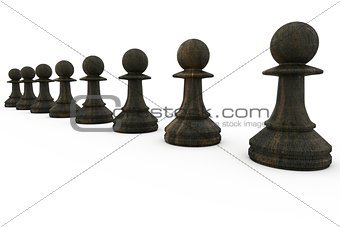 Black pawns in a row