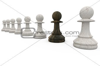 Black pawn standing with white pawns