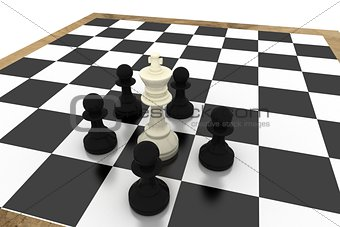Black pawns surrounding white king