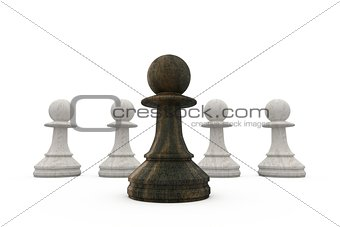 Black pawn standing in front of white pawns