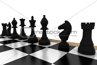 Black chess pieces on board