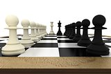 White and black pawns facing off with king and queen