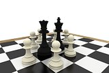 Black king and queen surrounded by white pawns