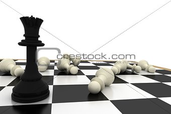 Black queen standing with fallen white pawns