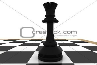 Black queen on chess board