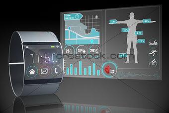Futuristic black wristwatch with interface