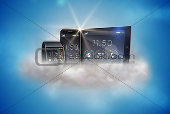 Smartphone tablet pc and futuristic wristwatch
