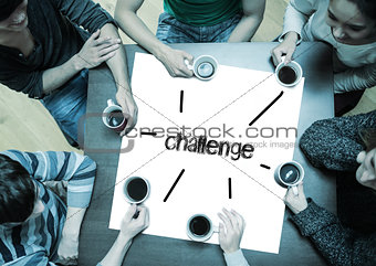 Challenge on page with people sitting around table drinking coffee