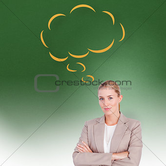 Composite image of confident female executive with folded arms