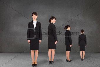 Composite image of multiple image of businesswoman