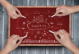 Composite image of multiple hands drawing success doodle with chalk