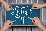Composite image of multiple hands drawing idea tree with chalk