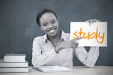 Happy teacher holding page showing study