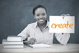 Happy teacher holding page showing create