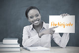 Happy teacher holding page showing participate