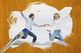 Composite image of couple jumping on the beach