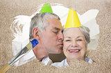 Composite image of senior couple celebrating birthday