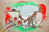 Composite image of couple on the beach in deck chairs